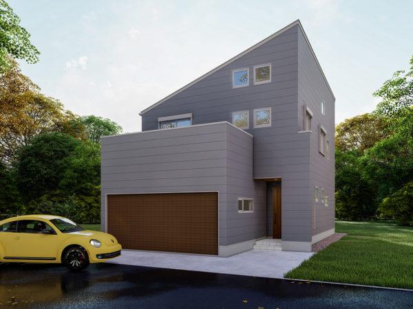 片流れ屋根 四層の家