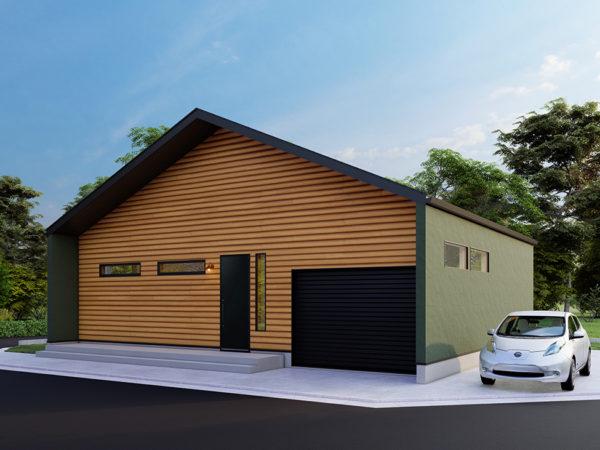 ロフトとガレージのある 三角屋根の平屋